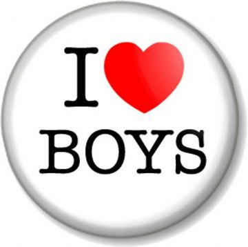 I Love / Heart BOYS Pinback Button Badge Geek Chic Nerd Cute Novelty Fun Humour